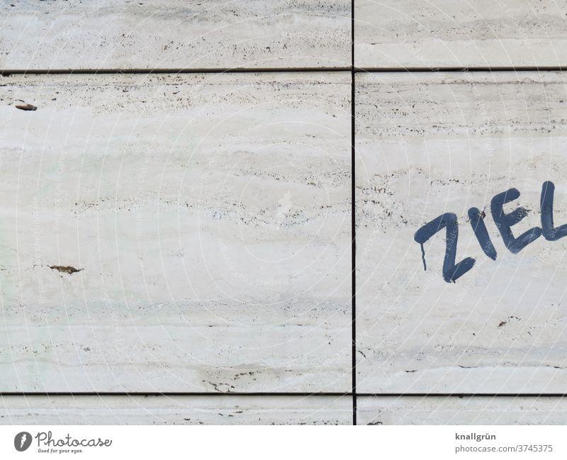 Ziel Graffiti Mauer Wand Außenaufnahme Straßenkunst Schmiererei Fassade Buchstaben Schriftzeichen Tag Wort Typographie Text Jugendkultur Strukturen & Formen