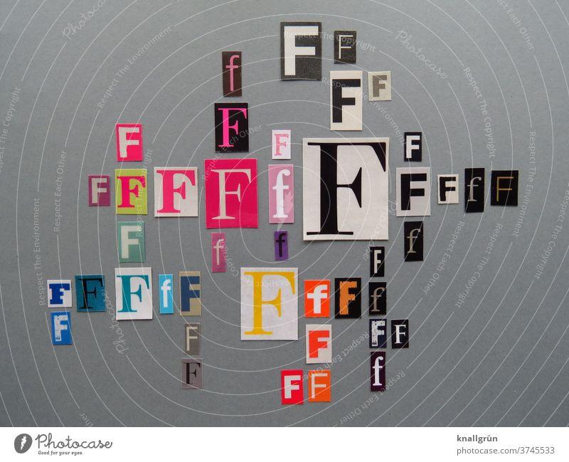Ff Buchstaben Typographie Schriftzeichen Wort Text Printmedien ausgeschnitten anonym Collage mehrfarbig Symbole & Metaphern Zeichen Zeitschrift