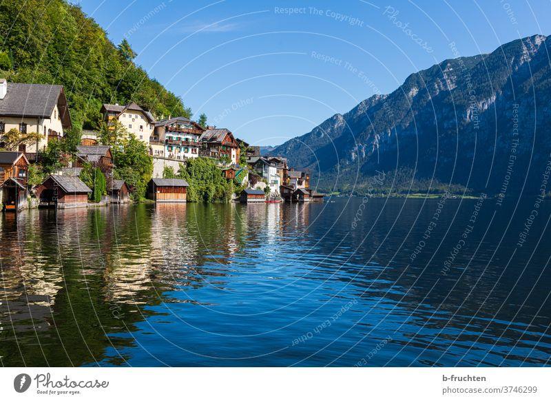 Hallstatt - Bergdorf im Salzkammergut, Österreich Dorf Idylle Außenaufnahme Ferien & Urlaub & Reisen Tourismus Natur Massentourismus hallstatt Oberösterreich