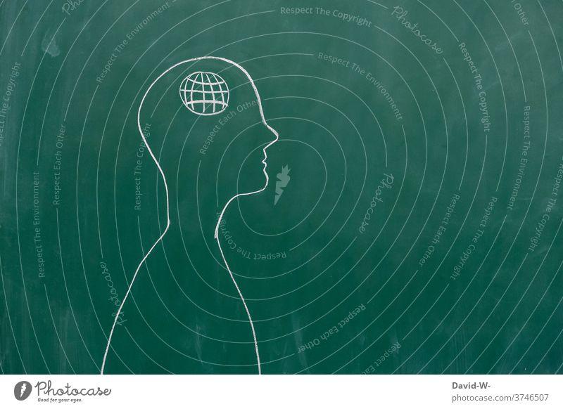 Zeichnung eines Menschen - Konzept Internet Symbol Zeichen vernetzt Adresszeichen Technik & Technologie Telekommunikation Zukunft Fortschritt denken