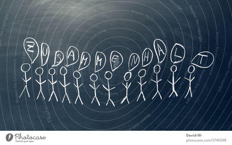 Meschen und zusammenhalt Menschenmenge gemeinsam Teamwork gemeinschaftlich Gesellschaft (Soziologie) Strichmännchen Erfolg Zeichnung Einigkeit Verbindung