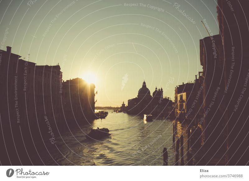 Guten Morgen Venedig - Blick auf den Canal Grande im Morgenlicht Italien morgens ponte dell'Accademia Gegenlicht Sonnenlicht Morgendämmerung Sehenswürdigkeit