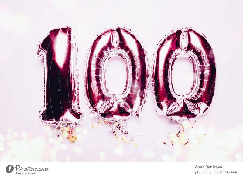 Ballonfahne zur Feier des 100-jährigen Jubiläums Luftballon Silber mag Gefolgsleute Nummer 100. Jahrestag einhundert Geburtstag Glückwünsche Air Dekor