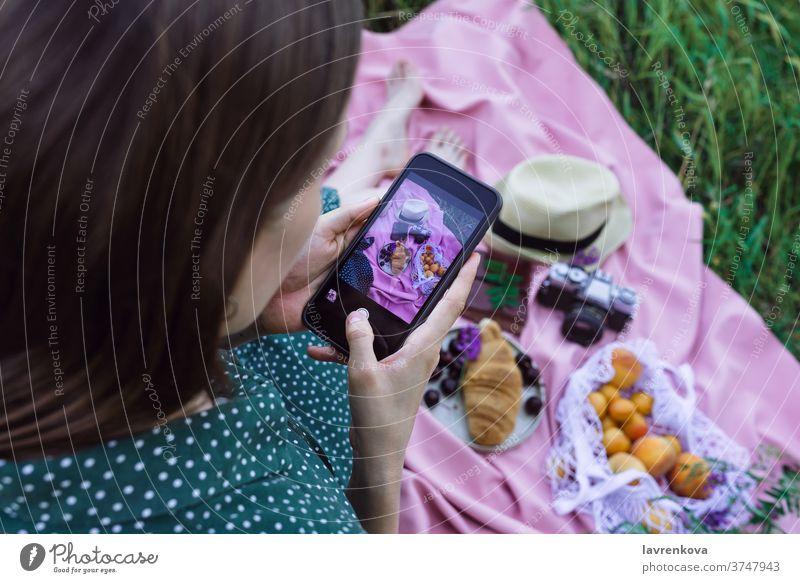 Frau beim Fotografieren eines Picknicks auf grünem Gras im Freien Mitteilung Smartphone Bild unter soziale Netzwerke Beitrag Lebensmittel Decke rosa Selfie