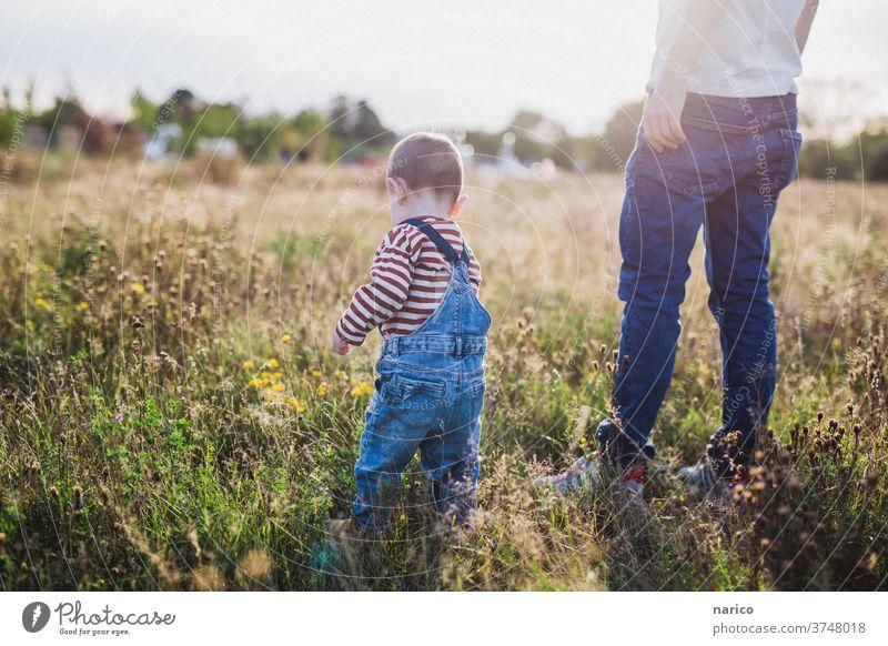 Vater und Sohn stehen auf einer Wiese bei Sonnenuntergang Kleinkind Sonnenlicht Latzhose Familie & Verwandtschaft Mann Kind Außenaufnahme Farbfoto Zusammensein