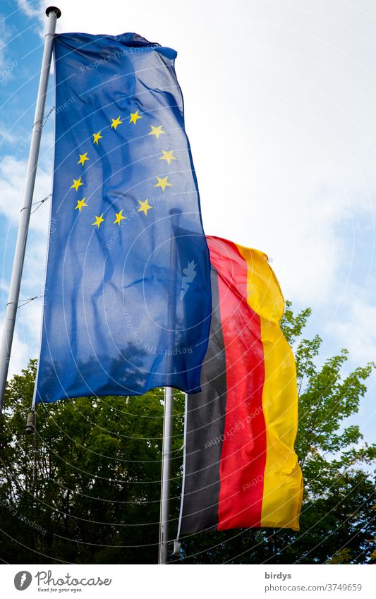 Europaflagge und Deutschlandflagge wehen nebeneinander im Wind. Europa , Deutschland, Fahnen, EU, europäische Union europäische union Flaggen BRD EU-Fahne