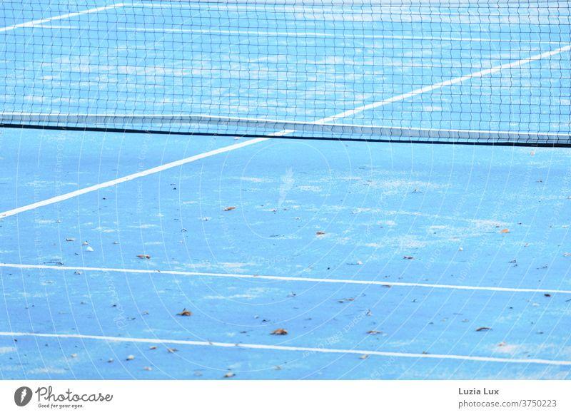Tennis blauweiß, herbstlich Tennisplatz Herbst Herbtlaub Sport Spielen Linie Freizeit & Hobby Außenaufnahme Farbfoto Menschenleer Sportstätten Tennisnetz