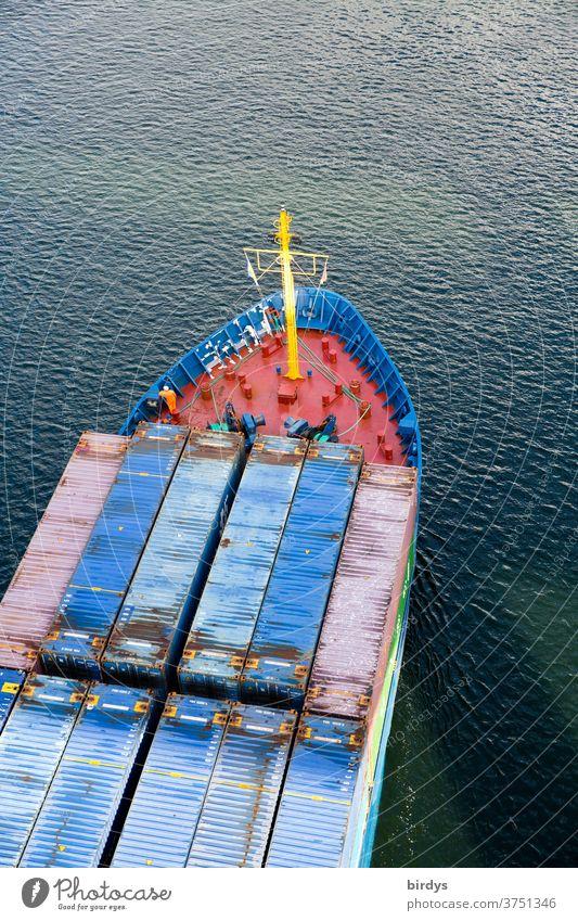 Containerschiff im Nord-Ostseekanal Güterverkehr & Logistik Schifffahrt Handel Wirtschaft Nord-Ostsee-Kanal Vogelperspektive Schiffsbug Wasser Warenverkehr