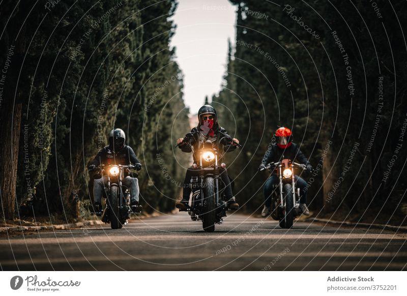 Biker auf Motorrädern fahren auf Landstraße Motorrad Mitfahrgelegenheit Laufwerk Menschengruppe Straße Geschwindigkeit Kraft schnell reisen Freiheit Route
