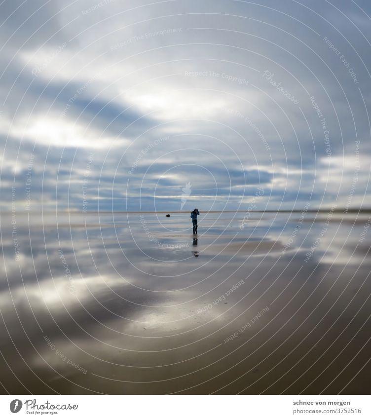 endlose meerweiten im norden island strand wolken mensch ruhe stille horizont spiegelung irreal mond wasser natur Landschaft Außenaufnahme