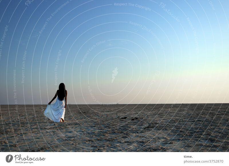 evening star seele melancholie fernweh abendlicht dunkelhaarig langhaarig erholen strand sand horizont raum weite genießen himmel küste kleid frau gehen halten