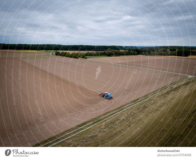 Traktor bei der Feldarbeit Landwirtschaft Bauer Ernte Natur Umwelt Dürre Arbeit Ackerbau Arbeit & Erwerbstätigkeit Farbfoto Tag landwirtschaftlich