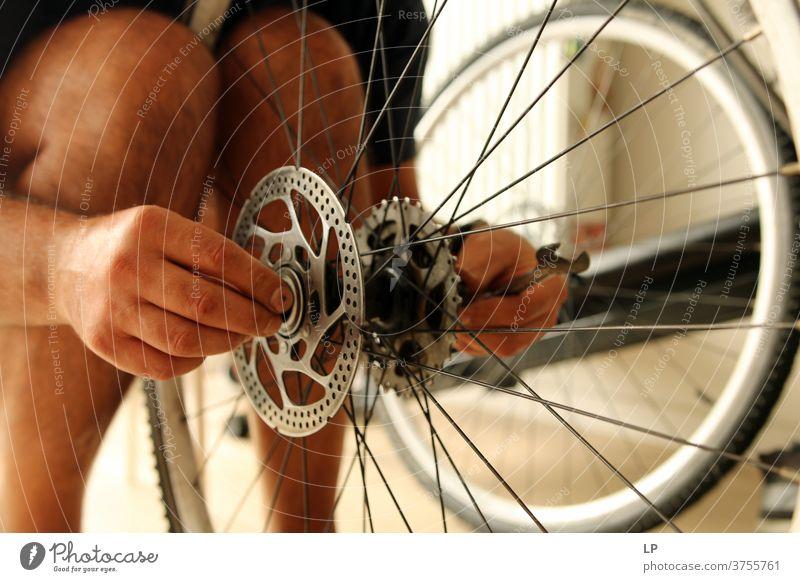 Mann repariert Fahrrad Farbfoto Werkzeuge Werkzeugtafel professionell selbstgemacht erbaut Menschen reparierend Scheibenbremse Garage in Ordnung bringend