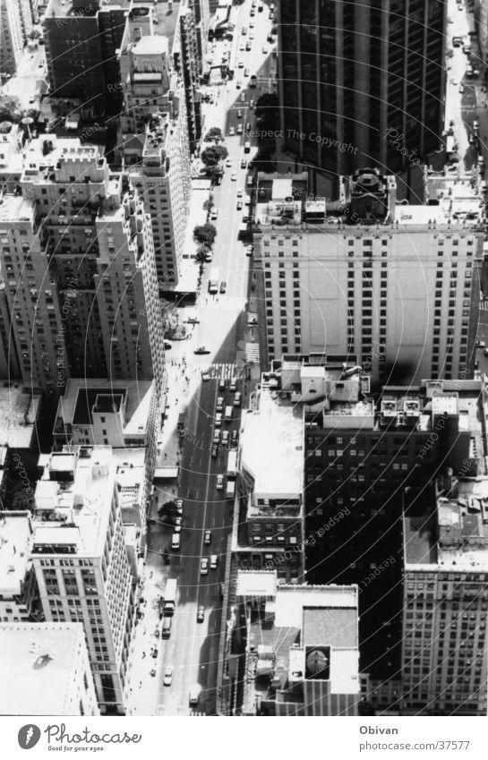 New Yorks Straßen New York City USA Stadtzentrum Skyline bevölkert Hochhaus Architektur Verkehr Berufsverkehr PKW hoch Dinge Schwarzweißfoto Außenaufnahme