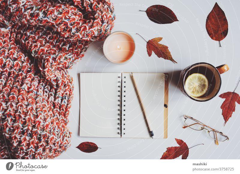 gemütliche Herbst-Stillleben-Details mit Skizzenbuch, getrockneten Blättern für das Herbarium, heißem Tee und gestrickter Decke. Hygge-Konzept, flach auf Weiß gelegt.