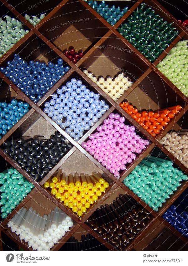 Zick nein Zack Kerze Regal mehrfarbig sortieren Handwerk Farbe verrückt