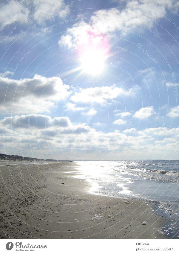 Schnapp Sonne Strand Meer Landschaft Sand Wasser Himmel Wolken Horizont Sonnenlicht Schönes Wetter Wellen Küste Nordsee Erholung gehen genießen stehen glänzend