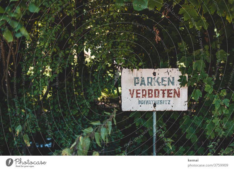 Parken verboten Schild Verbot Verbotsschild Privat Privatbesitz Worte Hinweis alt grün Gebüsch