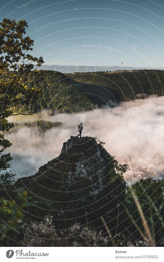 Mensch auf Felsen vor Nebelmeer Albtrauf Schwäbische Alb stehen grün blau Himmel wolkenlos Windrad Frühnebel Morgennebel Aussicht Weite allein Licht Landschaft