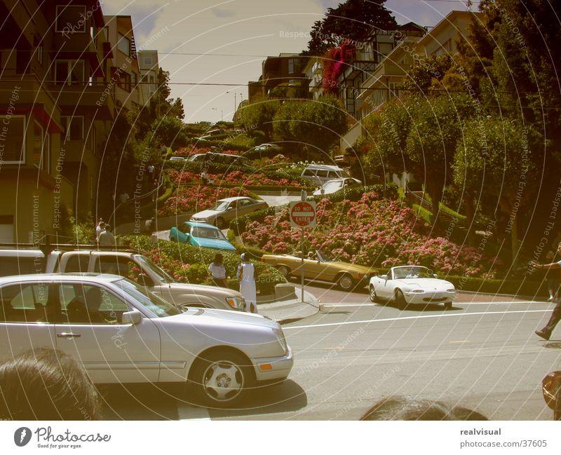 San Fransisco alt Sehenswürdigkeit vergilbt Attraktion Serpentinen Lombard Street