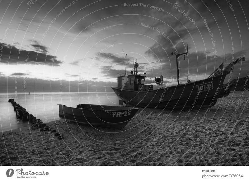 das rettende Ufer Landschaft Himmel Wolken Sonnenaufgang Sonnenuntergang Wetter Schönes Wetter Küste Strand Meer Verkehrsmittel Güterverkehr & Logistik