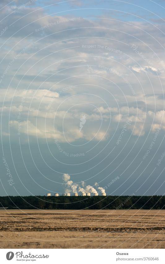 Kohlekraftwerk Jänschwalde Landschaft Wüste Steppe Horizont Kraftwerk Dampf Rauch Kühlturm Himmel Wolken Gras Grasland Außenaufnahme Menschenleer