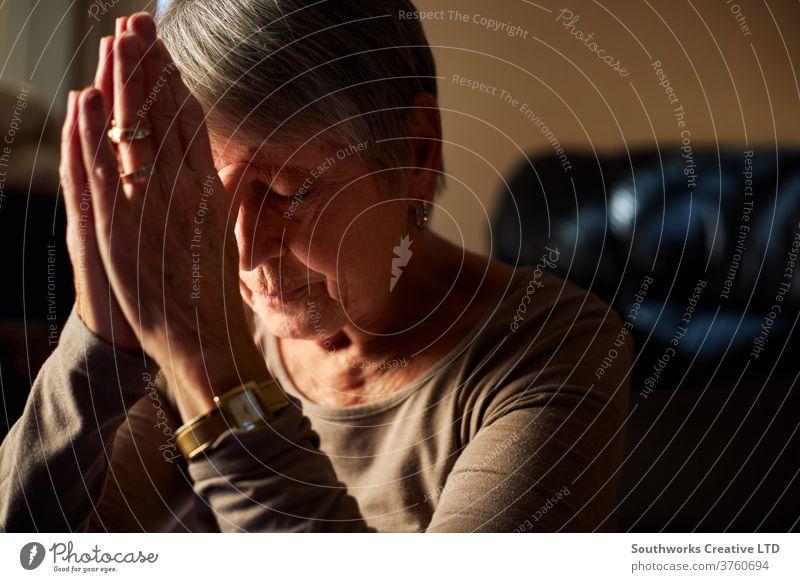 Ältere Frau betet zu Hause heimwärts Sonnenlicht gealtert Windstille im Innenbereich reif Person Erwachsener Pflege älter Senior oap Glaube Gebet Hände