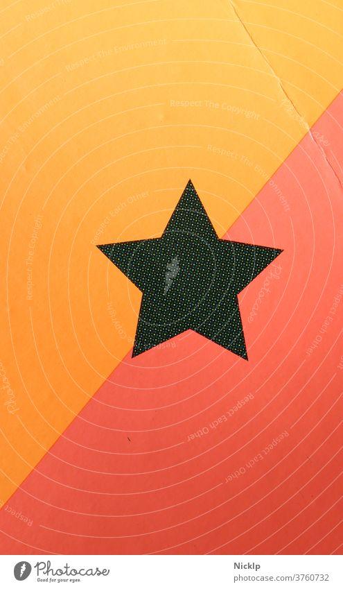 Stern mit fünf Ecken hinterlegt mit orange / gelb und rot (Diagonal) - Rasterdruck abfotografiert Fünfstern schwarz diagonal illustration symbol