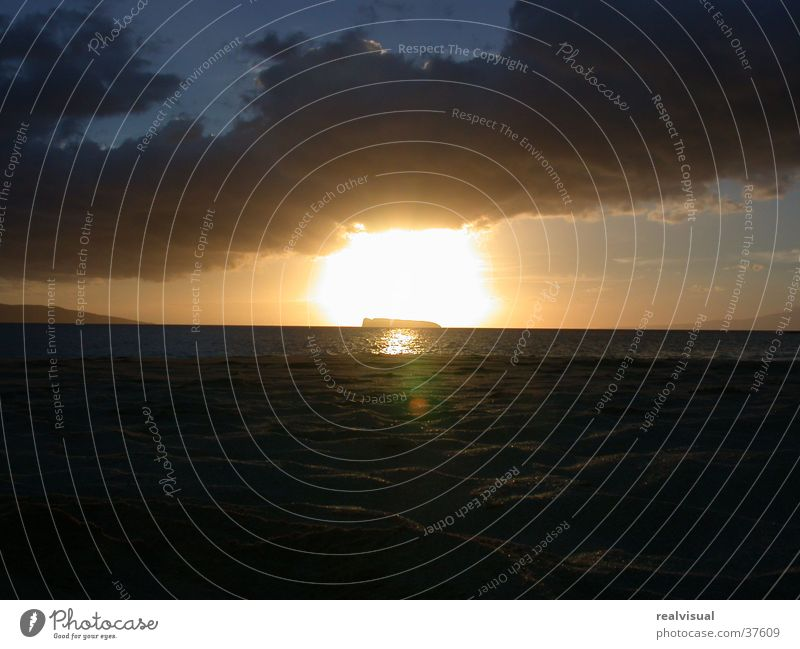 Maui - sonnenuntergang Wasser Meer Ferien & Urlaub & Reisen orange
