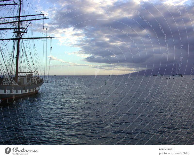 Maui - Segelschiff Meer Sonnenuntergang Horizont Ferien & Urlaub & Reisen Wolken Blauer Himmel