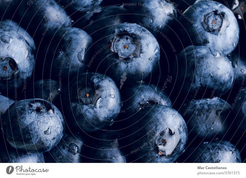 Blaubeere im Hintergrund. Makro-Konzept. Blaubeeren Frucht Lebensmittel blau organisch frisch reif süß Gesundheit saftig Dessert Natur Frische roh
