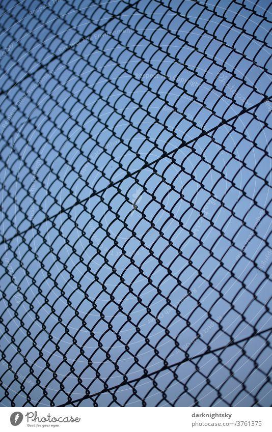 Maschen Draht Zaun und blauer Himmel am Abend Barriere grün Dinge Feld Außenaufnahme Grenze Menschenleer Natur Gitter Stacheldraht bedrohlich Sicherheit Schutz