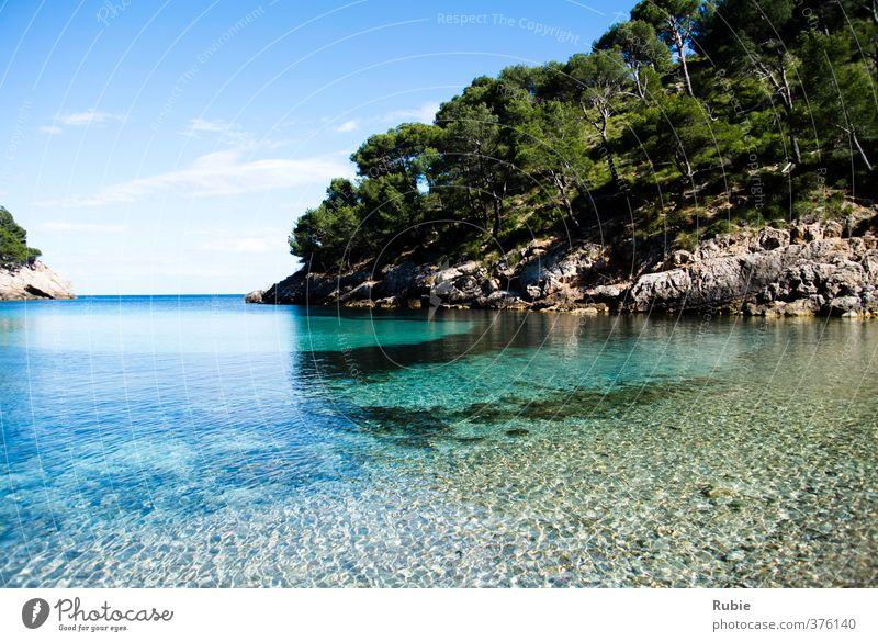 Cala Murta blau grün Sommer Sonne Erholung Meer ruhig Strand Berge u. Gebirge Wege & Pfade Küste Schwimmen & Baden Wellen Insel Schönes Wetter Klarheit