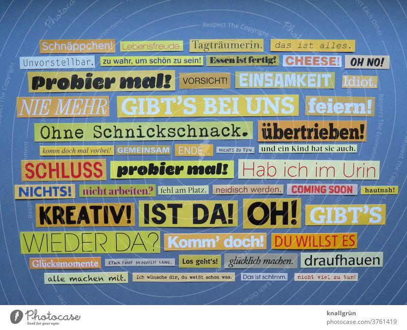 Worte Typographie Buchstaben Schriftzeichen Text Zeichen ausgeschnitten mehrfarbig gelb Collage Zeitschrift Printmedien Symbole & Metaphern Papier