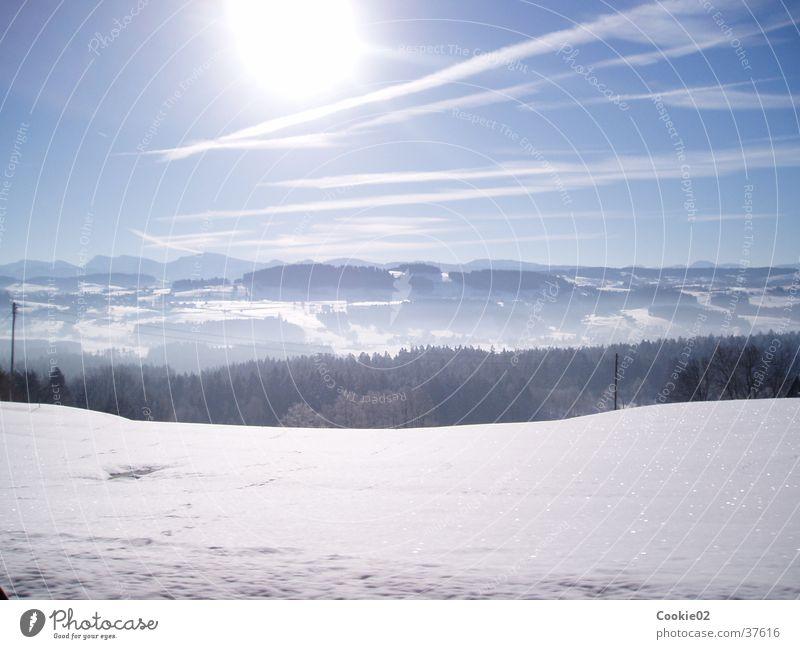 kalte sonne Horizont Panorama (Aussicht) Berge u. Gebirge Sonne Alpen Schnee groß