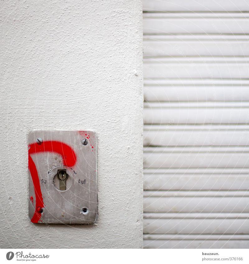 ut köln | ehrenfeld II | halt. weiß rot Wand Mauer Stein Metall Fassade Wohnung Häusliches Leben Schilder & Markierungen Schriftzeichen Hinweisschild Industrie