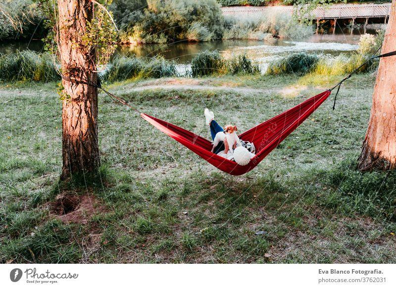 Rückenansicht einer jungen Frau, die sich mit ihrem Hund in orangefarbener Hängematte entspannt. Camping im Freien. Herbstsaison bei Sonnenuntergang