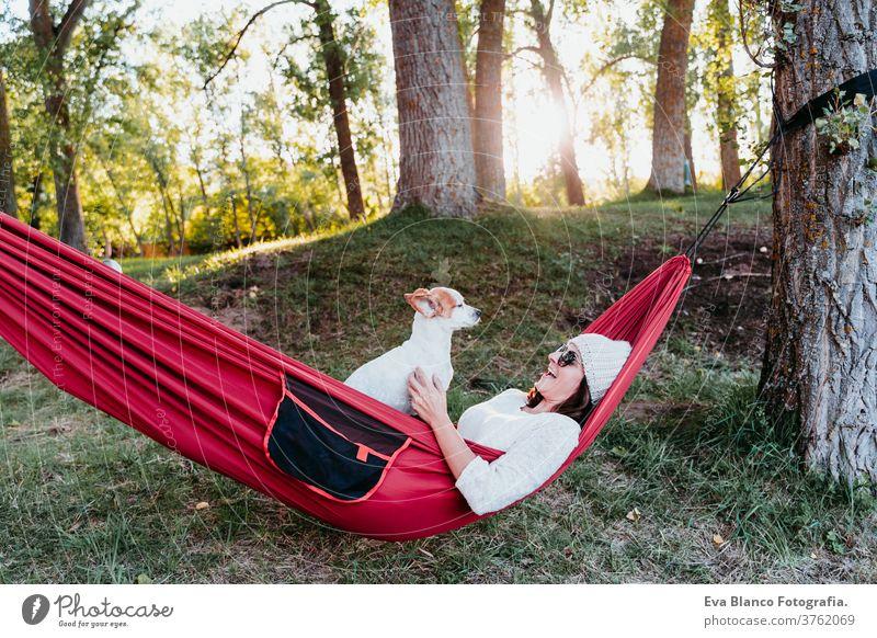 junge Frau entspannt sich mit ihrem Hund in orangefarbener Hängematte. Zelten im Freien. Herbstsaison bei Sonnenuntergang liegende Hängematte jack russell