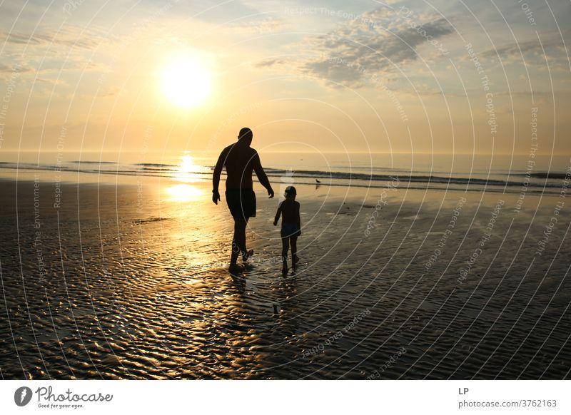 Vater und Sonne beim Spaziergang am Strand bei Sonnenuntergang Eltern Sonnenstrahlen Sonnenlicht Strukturen & Formen Muster Schutz Lebensfreude Fröhlichkeit