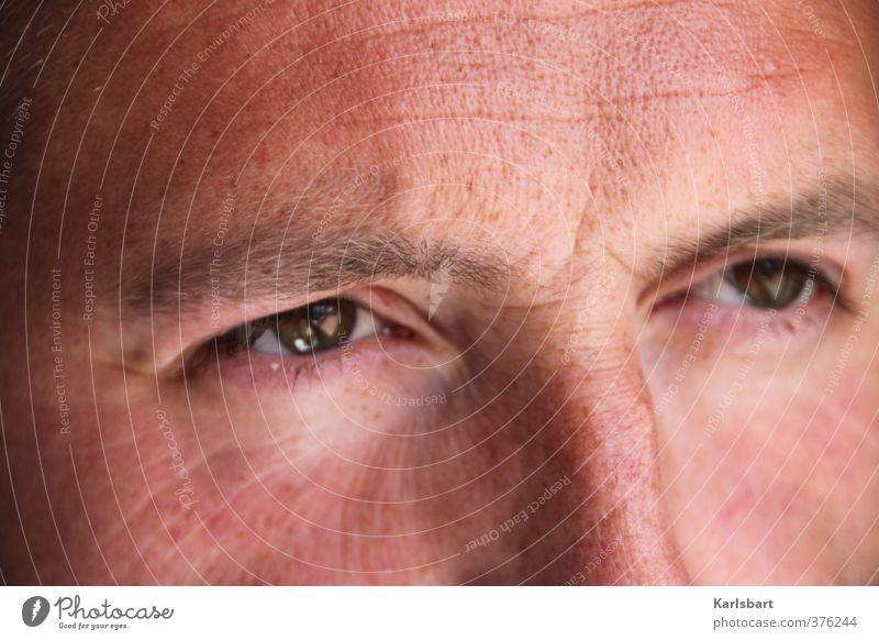 skepsis. Haut Gesicht Mensch maskulin Mann Erwachsene Senior Auge 1 30-45 Jahre Denken Verantwortung achtsam Wachsamkeit vernünftig kompetent Kontakt