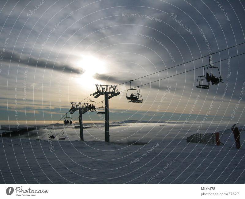 Sessellift Wolken Sport Schnee Skifahren
