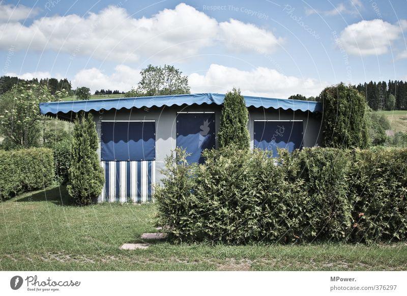 parzelle 482 Ferien & Urlaub & Reisen blau grün Pflanze Gras Ordnung Sträucher geschlossen Sauberkeit Kunststoff Camping Unbewohnt Deutsch nerdig Hecke Spießer