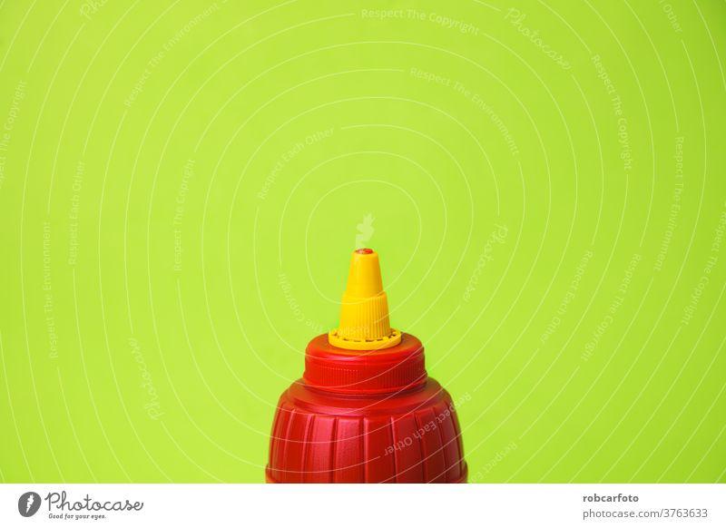 roter Ketchuptopf auf farbigem Hintergrund Objekt Nahaufnahme Mahlzeit Lebensmittel natürlich Bestandteil Glas weiß Topf Tomate Saucen vereinzelt Farbe Gewürz