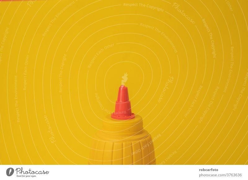gelber Senftopf auf farbigem Hintergrund frisch Speise Nahaufnahme Bestandteil Korn Essen zubereiten weiß Topf Schalen & Schüsseln Saucen Gewürz Bohnenkraut