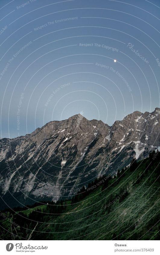 Göll Umwelt Natur Landschaft Pflanze Urelemente Himmel Wolkenloser Himmel Nachthimmel Mond Schönes Wetter Felsen Alpen Berge u. Gebirge Berchtesgadener Alpen