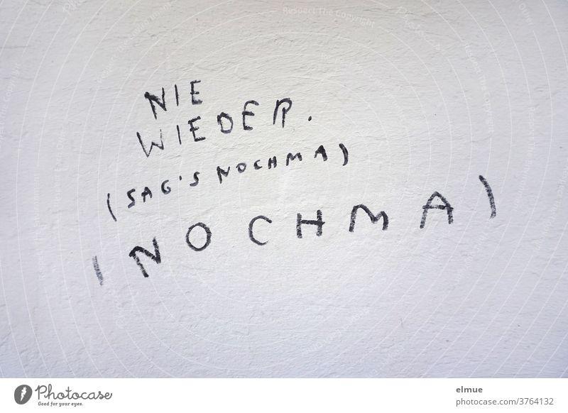 """""""NIE WIEDER (SAG's NOCHMA) (NOCHMA)"""" steht in Druckbuchstaben mit schwarz geschrieben an der grauen  Wand nie wieder Schmiererei Wiederholung Wortklauberei"""