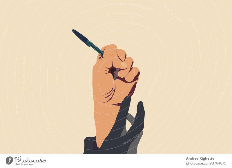 Konzept der Rede- und Informationsfreiheit, Stopp der Zensur. Hand, die einen offenen Stift hält. Er wird von einer anderen Hand nach unten gezogen. Vektor-Illustration mit hellgelbem Hintergrund