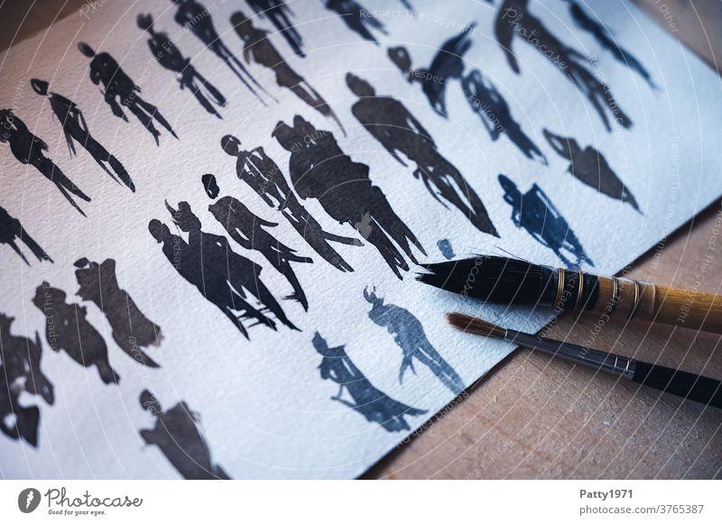 Abstrakte menschliche Silhouetten in Aquarell gemalt Mensch Figur Malerei Pinsel Studie abstrakt Kreativität Kunst Freizeit & Hobby Wasserfarbe malen