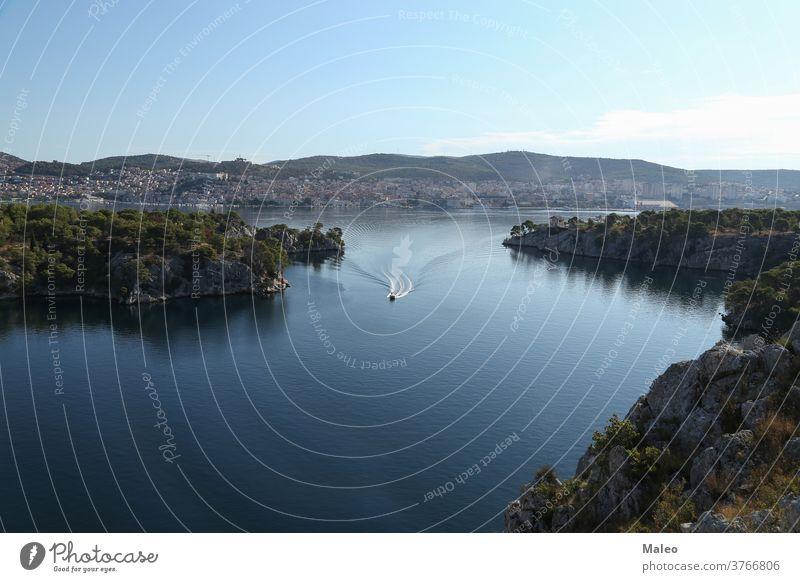 Kanal des Heiligen Antonius bei Sibenik, Kroatien adriatisch Antenne antik anthony Inselgruppe Architektur Gebäude Burg oder Schloss Küste Küstenlinie Kroatisch