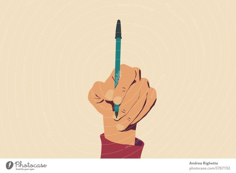 Konzept der Rede- und Informationsfreiheit, Stopp der Zensur. Hand, die einen offenen Stift hält. Hellgelber Hintergrund. Vektor-Illustration Freiheit Presse